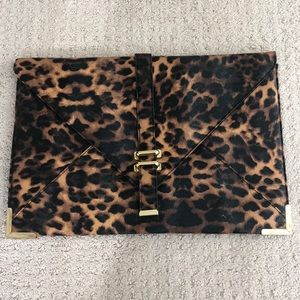 Large cheetah print envelope clutch